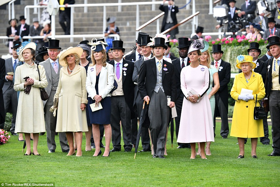 Out in force: Princess Anne, Prince Charles, the Duchess of Cornwall, Prince Edward, Sophie Countess of Wessex, and the Queen at Royal Ascot