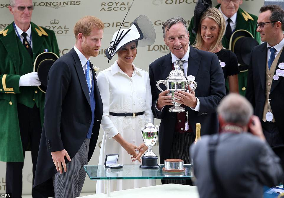 The royal couple also presented a trophy to owner John Gunther after Without Parole won the St James's Palace Stakes