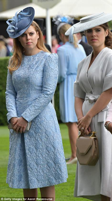Beatrice looked chic in a blue lace dress, while Eugenie opted for a wrap dress by fashion-forward designer Osman