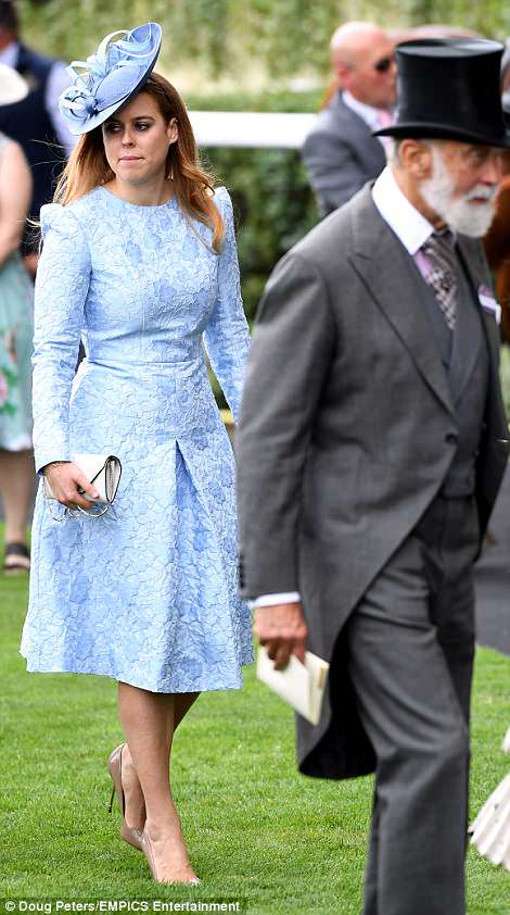 Beatrice opted for a matching pale blue dress and fascinator today