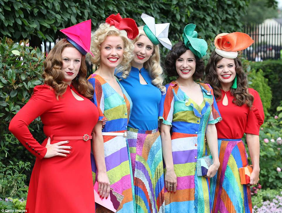 Rainbow dream: Multi-coloured prints and retro hairstyles gave this group of women a playful 1940s feel