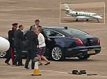 Prince Edward was seen arriving at Birmingham airport in a private jet today ahead of a commemoration service