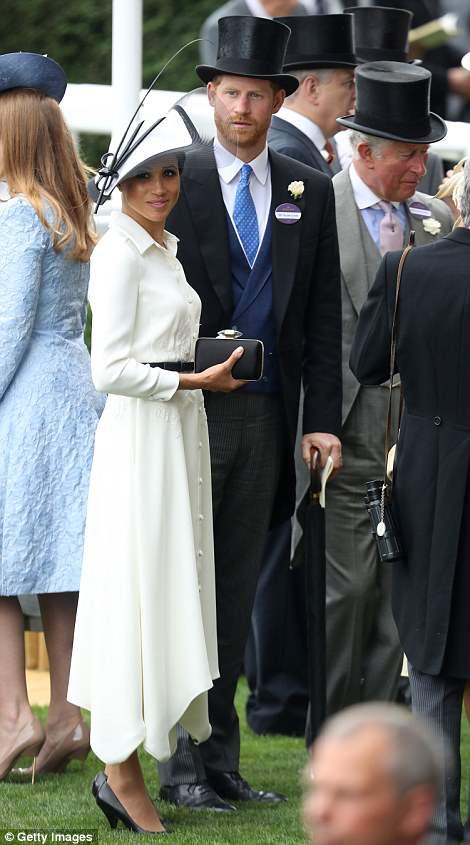 Meghan joined Harry and Prince Charles at Ascot today