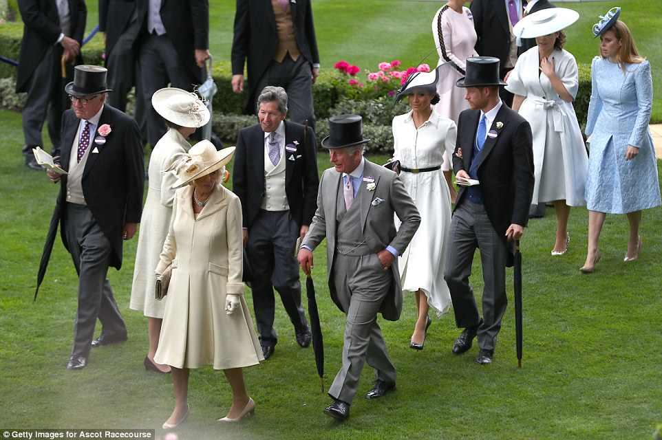 Harry and Meghan joined Charles and Camilla at the Berkshire racecourse today, along with Princesses Beatrice and Eugenie