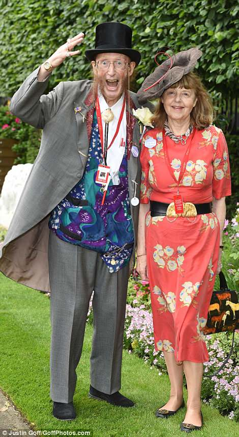 Familiar face: Horse racing punditJohn McCririck donned a vibrant waistcoat as he arrived at Ascot with his wife Jenny