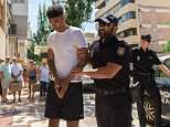 Two men including a professional footballer being probed over an alleged Ibiza hotel rape may be forced to remain on the island for months, it emerged today. A lawyer acting for Charlton striker Reeco Hackett-Fairchild (pictured) will try to overturn bail conditions later this week which included the handover of his passport and a ban on leaving the island