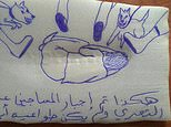 """This undated photo obtained by The Associated Press shows a drawing of a detainee being abused at a prison in Yemen run by the United Arab Emirates. The Arabic reads: """"This is how prisoners were forced to be naked."""" Emirati officers are sexually torturing and abusing hundreds of Yemeni men held without trial in secret prisons run by the key U.S. ally. Detainees smuggled letters and drawings to the AP, detailing their latest horrors of mass sexual abuses and humiliations at the hands of Emirati officers. (AP Photo)"""