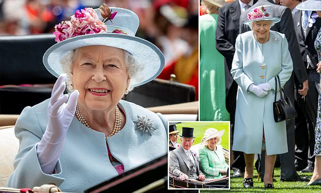 The Queen is picture perfect in pastel blue for Royal Ascot