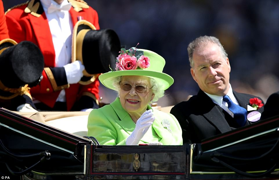 The Queen was accompanied by the Earl of Snowdon, the son of her late sister Princess Margaret