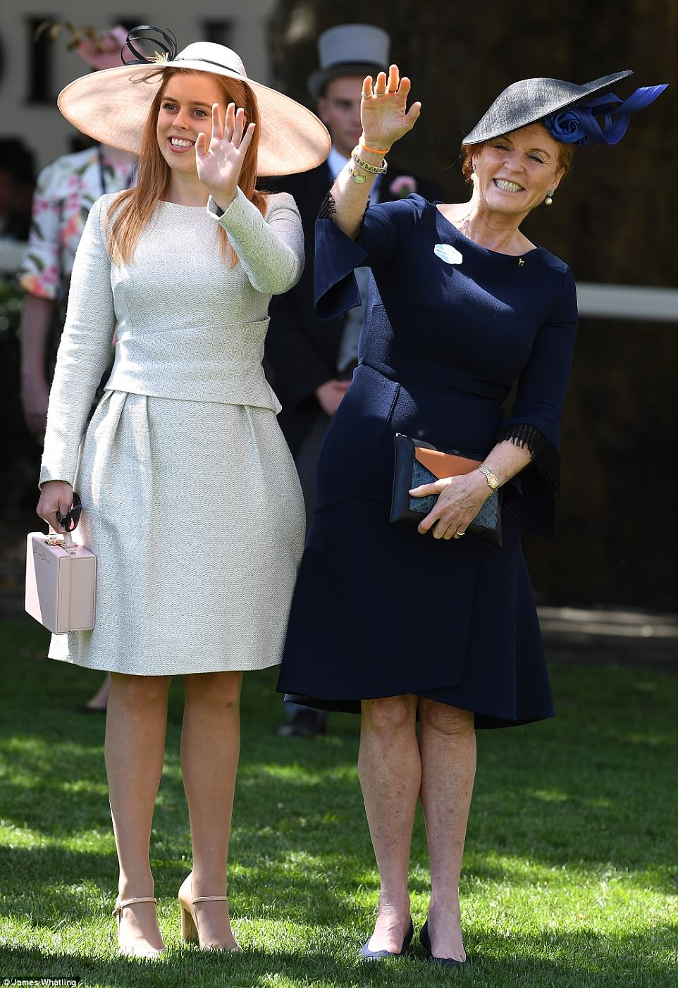 Beatrice looked smart in a pale grey dress by The Fold, while her mother was elegant in Roland Mouret