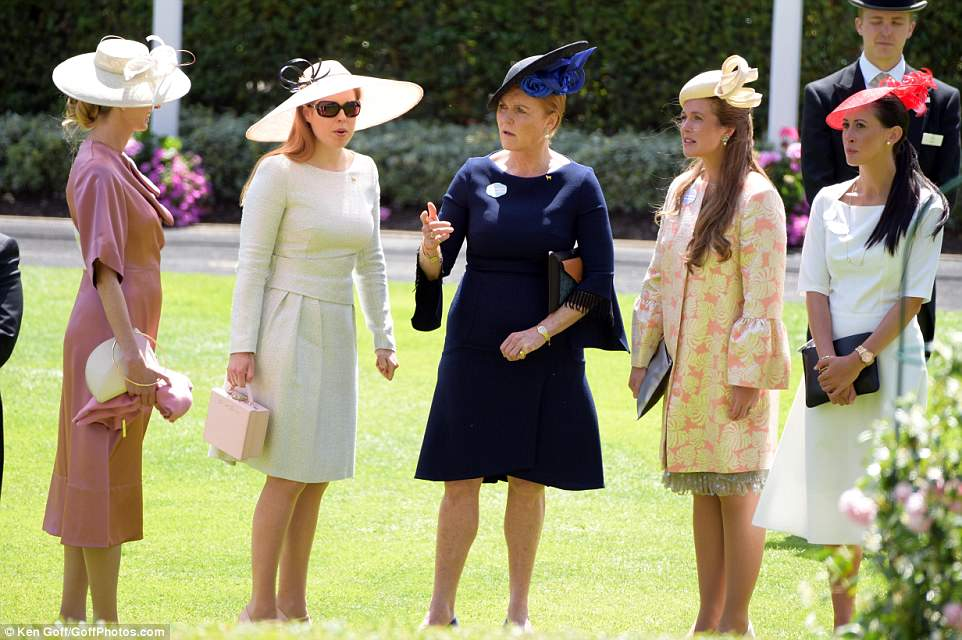 The Duchess and her daughter Beatrice chatted to fellow glamorous guests before the arrival of Her Majesty