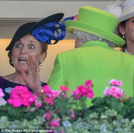 Fergie put on a very animated display as she chatted to the Queen in the royal box