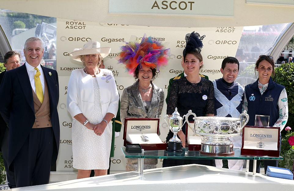 Prince Andrew presented trophies to jockey Colm O'Donoghue, trainer Jessica Harrington and owners the Niarchos Family after winning the Coronation Stakes with Alpha Centauri