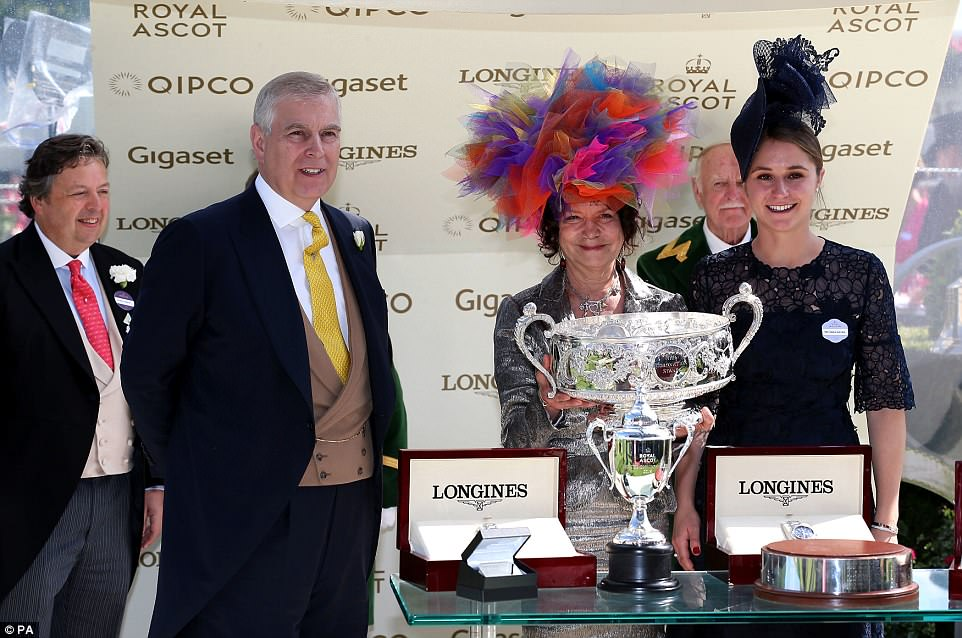 The Duke of York presented trophies to the Niarchos Family after winning the Coronation Stakes with Alpha Centauri