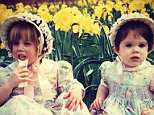 'Happy Easter from the York sisters': Princess Eugenie shared a sweet snap of herself and her sister Beatrice in Easter bonnets
