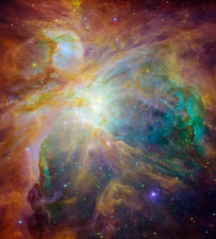 This Nasa image captured on April 12, shows baby stars creating chaos 1,500 light-years away in the cosmic cloud of the Orion Nebula. Four massive stars make up the bright yellow area in the center of this false-color image for the Spitzer Space Telescope.