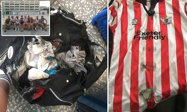 Shocking pictures show how an easyJet passenger's bag was 'chewed up by the conveyor belt'