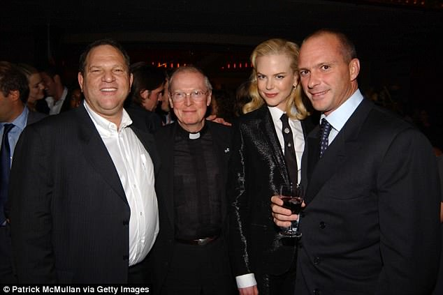 The LAPD is also investigating Weinstein over allegations made by an Italian model that he sexually assaulted her at Mr C in 2013. Pictured: Weinstein, Father Leo O'Donovan, Nicole Kidman and Cipriani in 2003