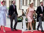 Princess Claire is smiling as she enters the Cathedral of Our Lady in Luxembourg with Prince Felix on national day