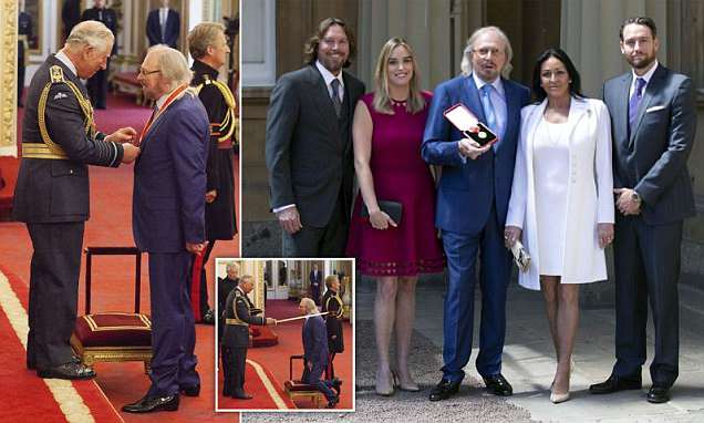 Bee Gees icon Barry Gibb is awarded a knighthood by Prince Charles