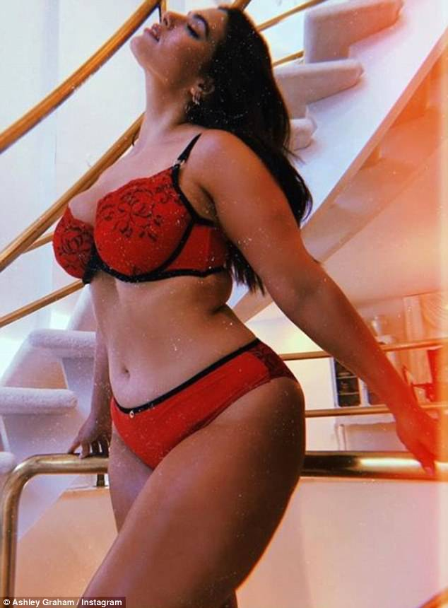 Sexy: Ashley Graham, 30, posed in lingerie for her new collection with Canadian brand Addition Elle