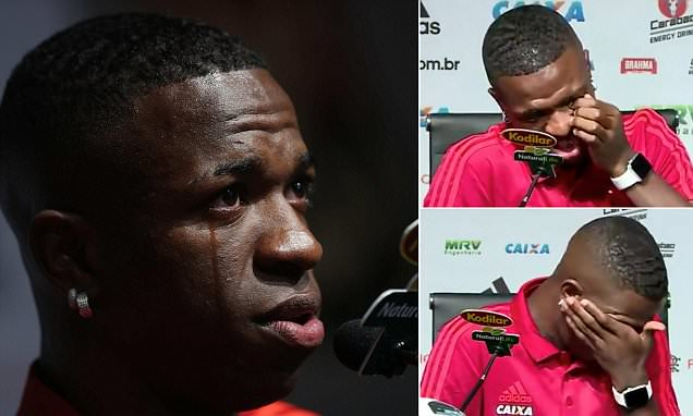 Vinicius Junior tears up in final Flamengo press conference ahead of Real Madrid move
