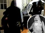 Cruel home invaders tortured a seven-year-old boy during a break-in at his home, holding him down in a bathtub of scalding hot water to find out where his family's possessions were (pictured is one of the men with the young boy in surveillance footage)