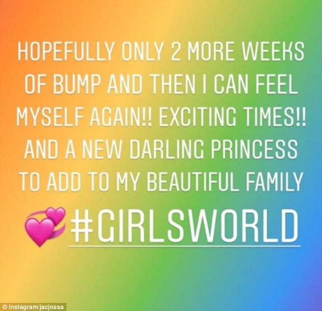 '#Girlsworld': Less than two weeks ago, Jacqueline described her newborn as a 'darling princess' in her excited text post and explained that her hospital bag was already packed