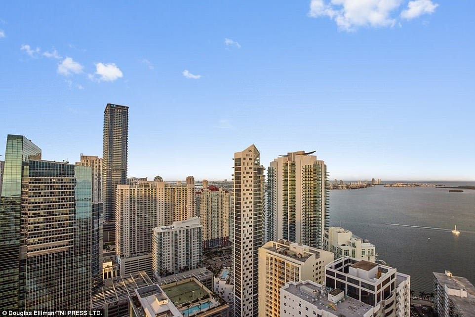 Amazing: The large windows offer jaw-dropping views of the Miami skyline, including parts of the Miami financial district