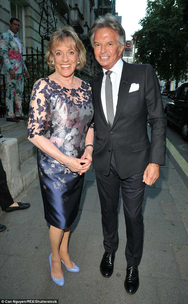 For a good cause: Dame Esther Rantzen posed with prominent businessman Richard Caring at the charity bash