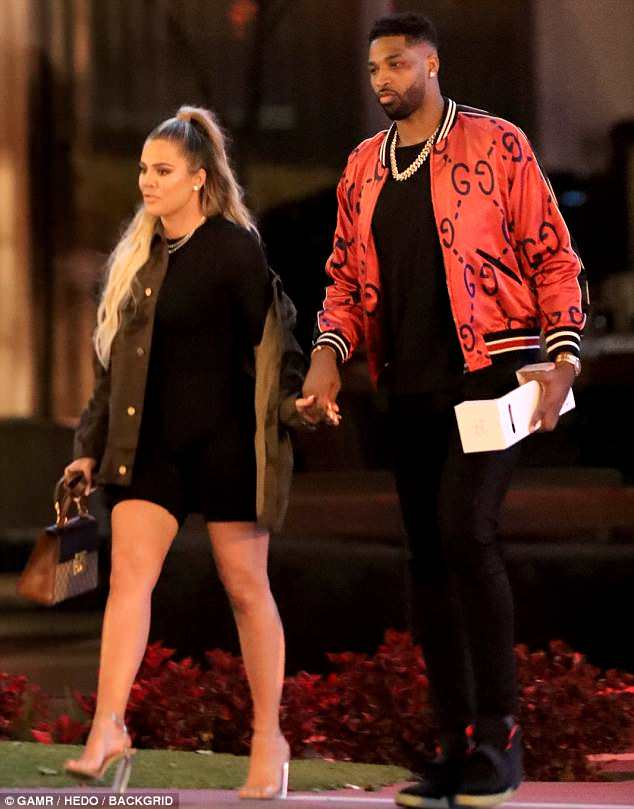 'I'm proud of my strength': Khloe Kardashian has addressed her decision to stay with Tristan Thompson after he cheated on her while she was pregnant. The couple are pictured on Sunday