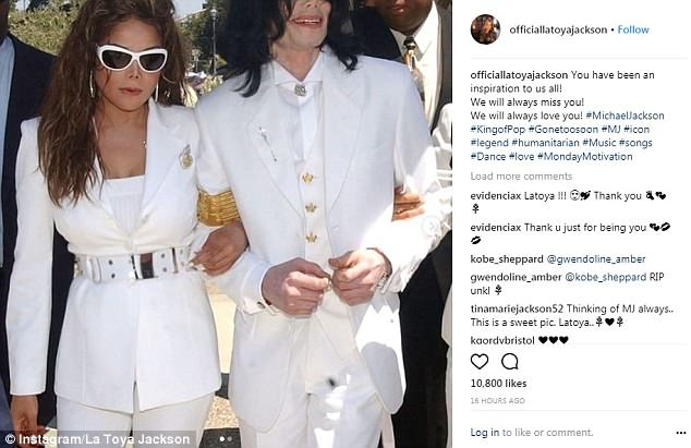 Sibling bond:His sister La Toya Jackson, 62, who shared a famously close relationship with her younger brother, posted a photo showing her and Michael in matching white outfits, calling him an 'inspiration'