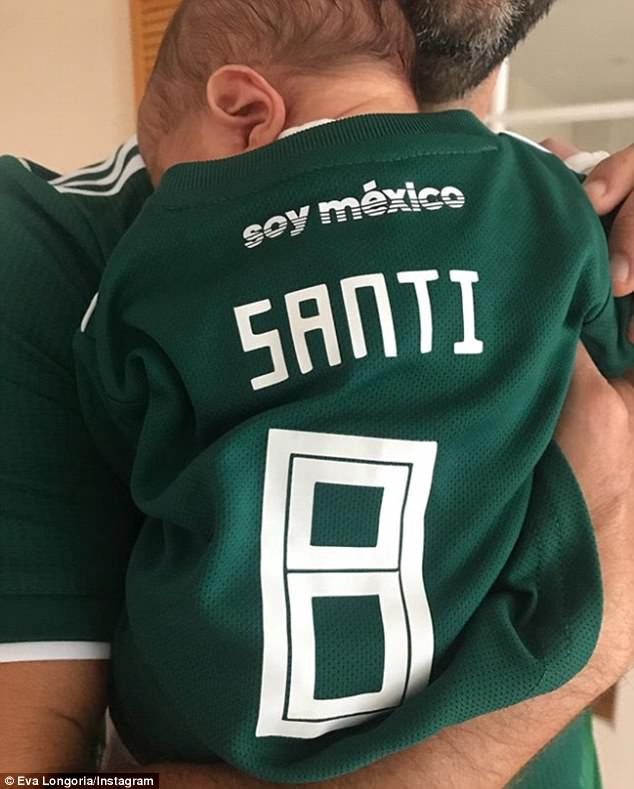 'Look who's ready for the Mexico game!': Eva posted this adorable snap of four-day-old baby Santi in his dad's arms wearing a green team Mexico shirt with his nickname and the number eight on the back when Mexico beat South Korea in the soccer World Cup on Saturday