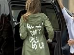 The First Lady wore the $39 green, hooded military jacket from Zara that read 'I really don't care, do u?' when she left for Texas and then returned to Washington on Thursday