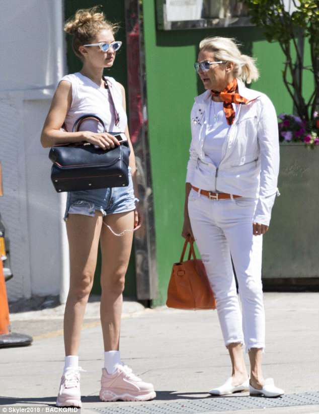 Family time: The dynamic parent-child duo of Gigi and Yolanda Hadid were spotted out together in New York City, enjoying a sunlit stroll as the week began