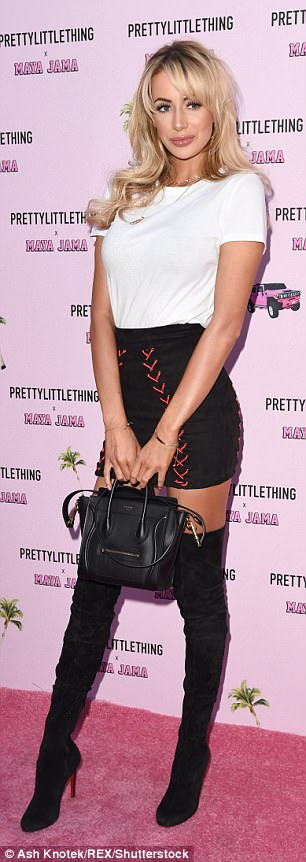 Busy bee: Olivia Attwood put on a leggy display in a black miniskirt on Monday night as she joined pal Amber Davies at Maya Jama's PrettyLittleThing clothing launch in London