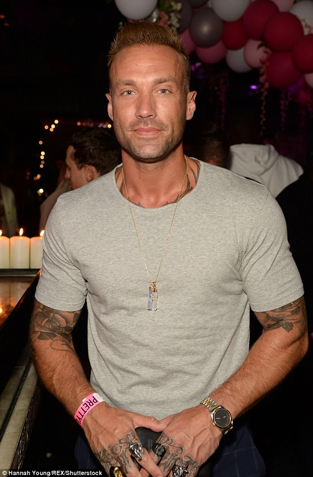 Dapper: Also in attendance was Calum Best who looked handsome in a tight-fitting grey t-shirt and navy chequered trousers