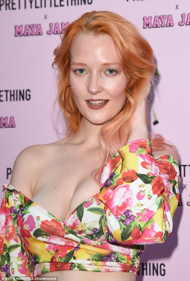 Peachy: Britain's Next Top Model Victoria Clay showed off her new peach-coloured hair, with candy cotton pink dyed ends