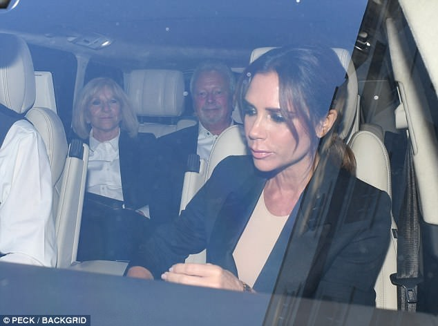 Incoming:While husband David did not attend - the retired footballer is currently fulfilling promotional commitments in the Far East - Victoria had good company in the form of her supportive parents, Anthony and Jacqueline
