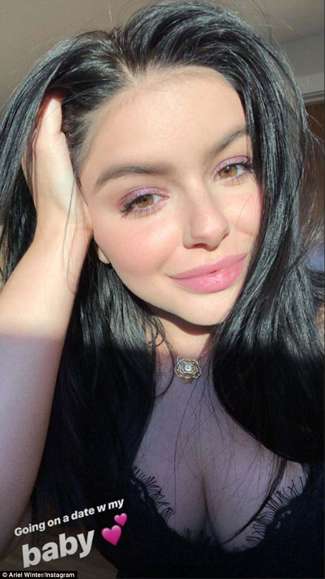 Date night: Ariel Winter, 20, posted some revealing selfies before she headed out for a date night with boyfriend Levi Meaden, 30 on Monday