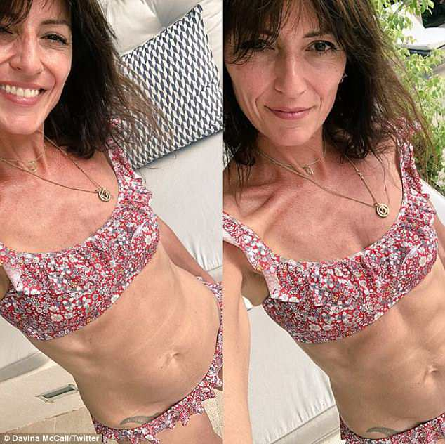 Hitting back:Davina McCall has dismissed criticism of her slender physique by sharing another snap of her body with Instagram followers, just moments after the first prompted a wave of negative comments