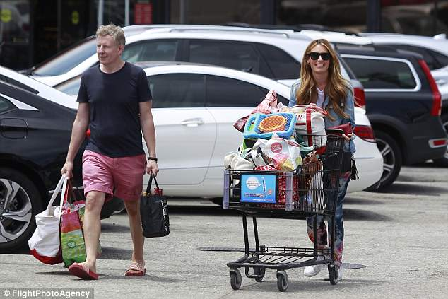 New addition: Cat Deeley and Patrick Kielty headed out for a supermarket shop on Monday after revealing last week that they had welcomed their second son, James Patrick