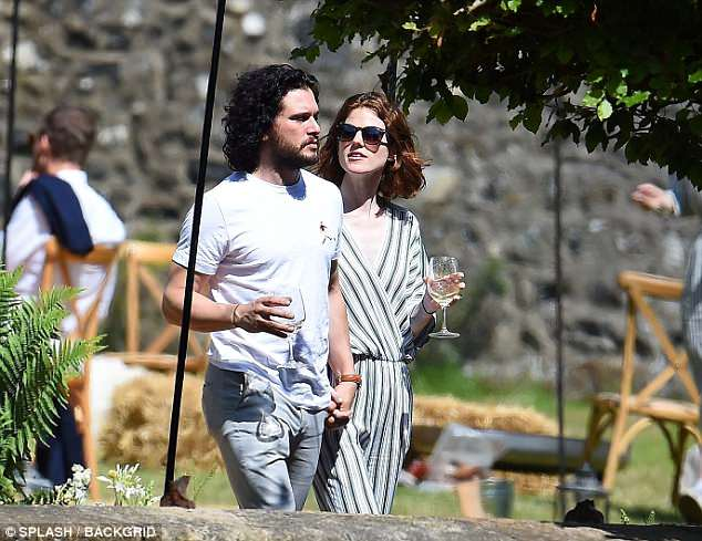 Newlyweds: Kit Harington and Rose Leslie were certainly the picture of wedded bliss on Sunday, as they continued to celebrate their marriage at Wardhill Castle in Aberdeenshire