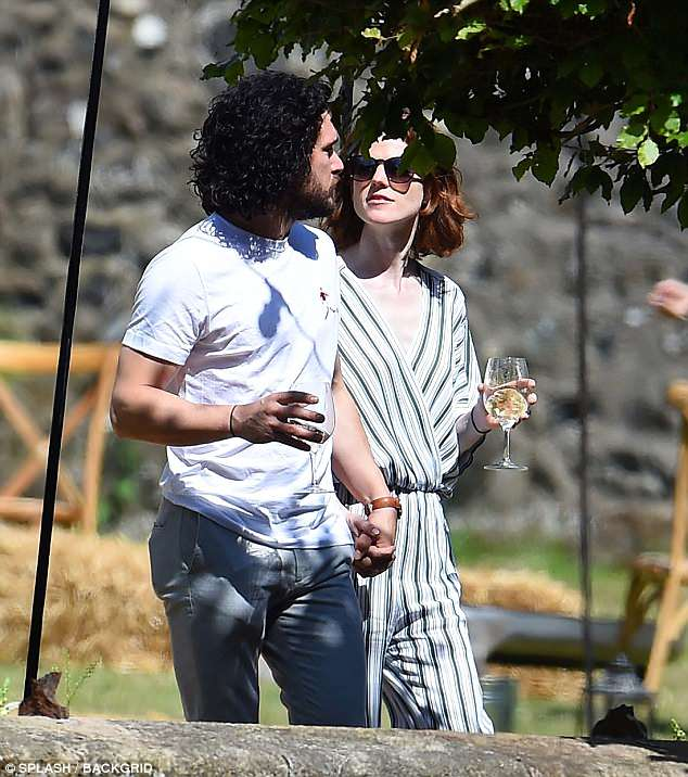 Refreshments:The pair were seen chatting and laughing together as they indulged in a glass of wine