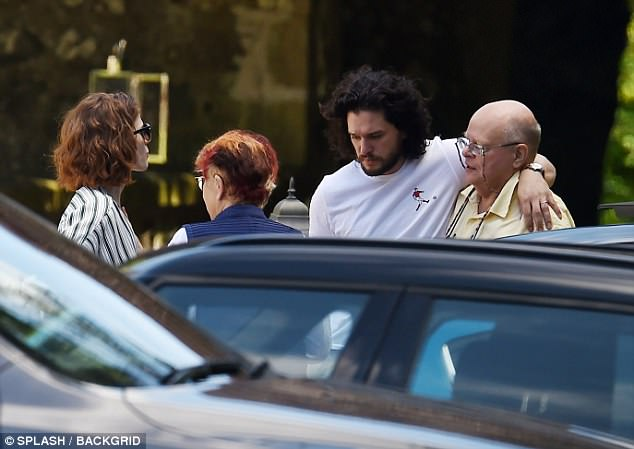 Chilling out: The newlyweds relaxed with their family on Sunday - after their Game Of Thrones co-stars headed home