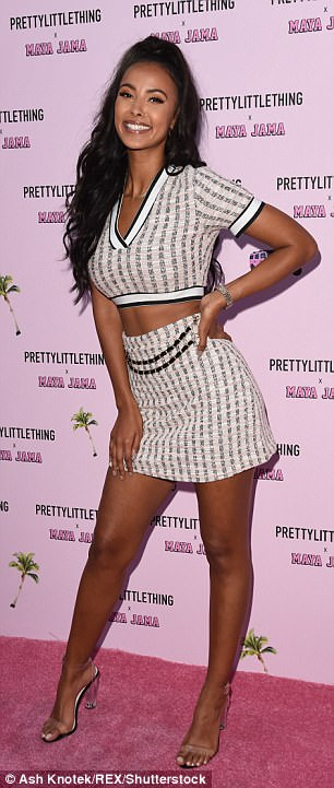 Work it:The TV and Radio presenter, 23, wowed in a self-designed co-ord, as she took to the pink carpet at the event held in her honour