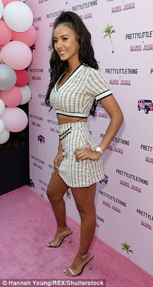 Leggy: The star, who is currently dating rapper Stormzy, showcased her shapely pins in the tiny skirt, while adding extra inches to her height with a pair of barely-there perspex heels