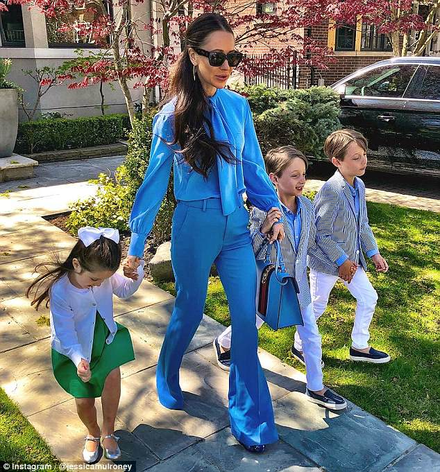 So long: The mother-of-three had previously worn her brown hair quite long
