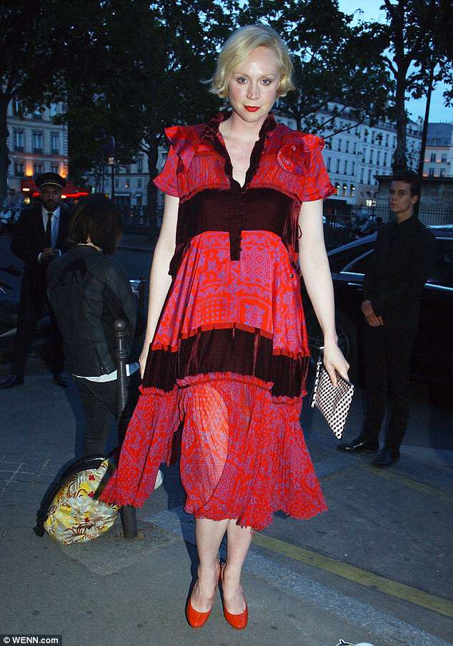 Red-y: Game Of Thrones star Gwendoline Christie caught the eye in a semi-sheer red dress