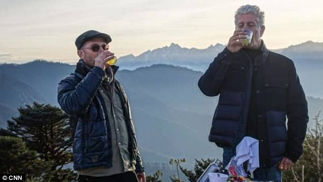 Anthony Bourdain (right) took part in a 'Bhutanese death ritual' with director Darren Aronofsky (left) while filming the season 11 finale of Parts Unknown. The two men are seen here in Bhutan